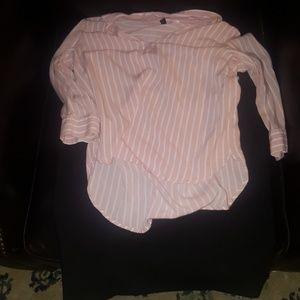 Collared pink blouse, Black zipup pencil skirt
